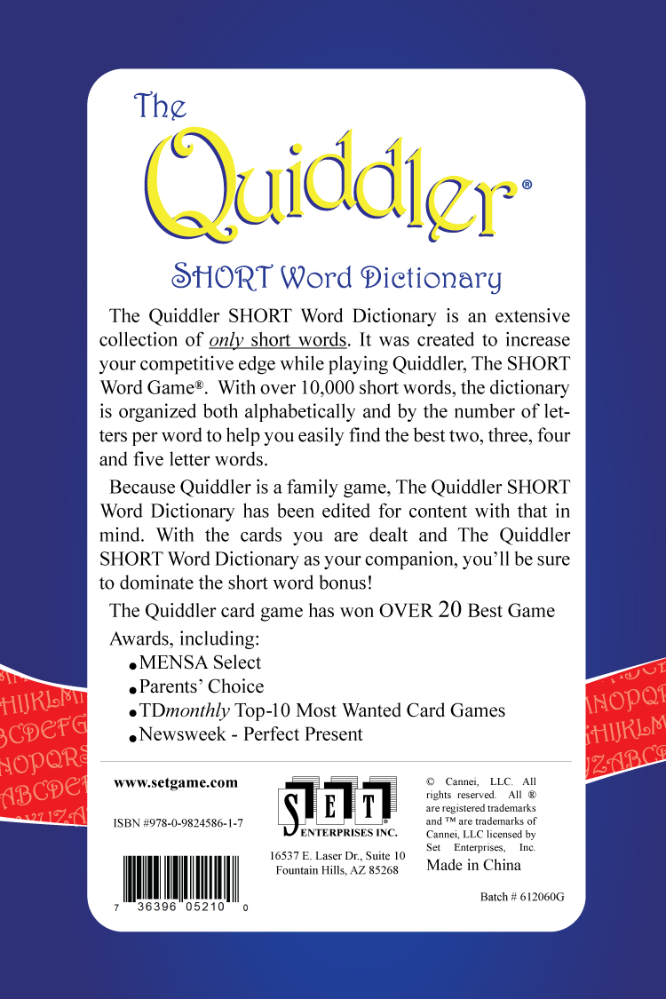 Quiddler Dictionary Americas Favorite Card Games
