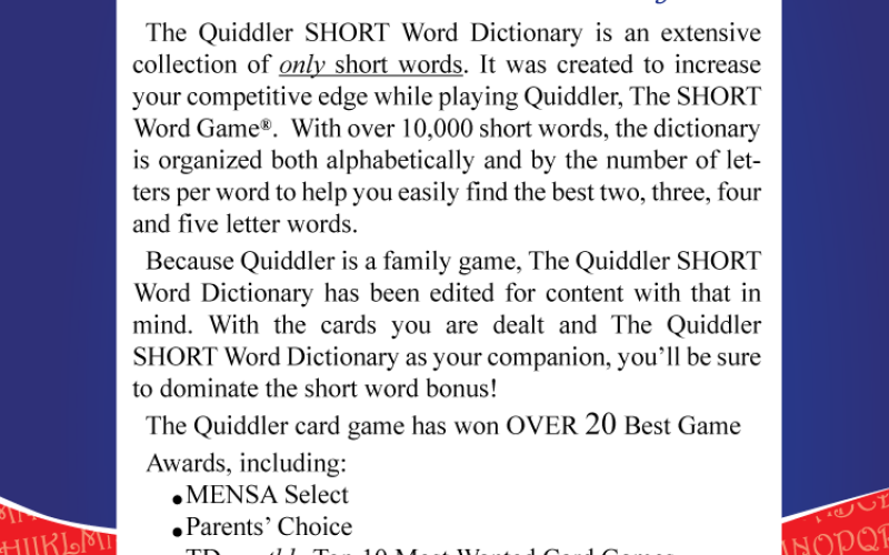 Quiddler Dictionary Back